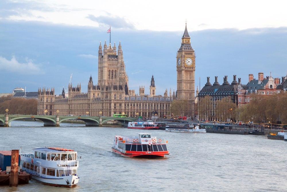 Big Ben and Westminster Bridge along the River Thames, London, England UK United Kingdom