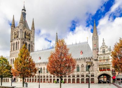 City Hall and Cloth Hall (Lakenhal Building) in Ypres, Belgium