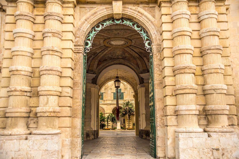 Facade of the Grandmaster's Palace in old city of Valletta, Malta