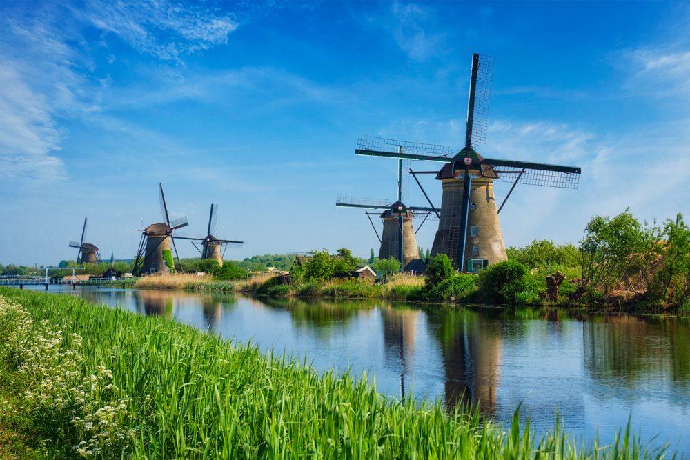 Famous site of windmills in Kinderdijk, Holland, Netherlands
