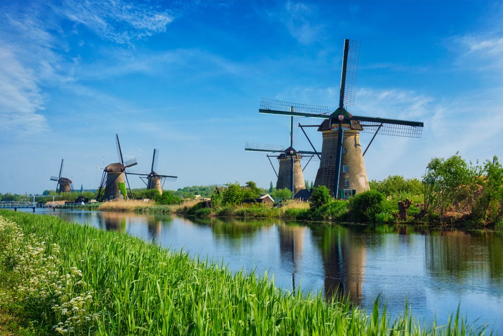 Famous site of windmills in Kinderdijk, Holland, Netherlands