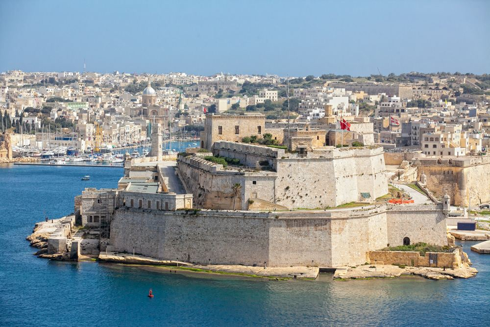 Fort St Elmo as seen from Upper Barrakka Gardens, Valetta, Malta