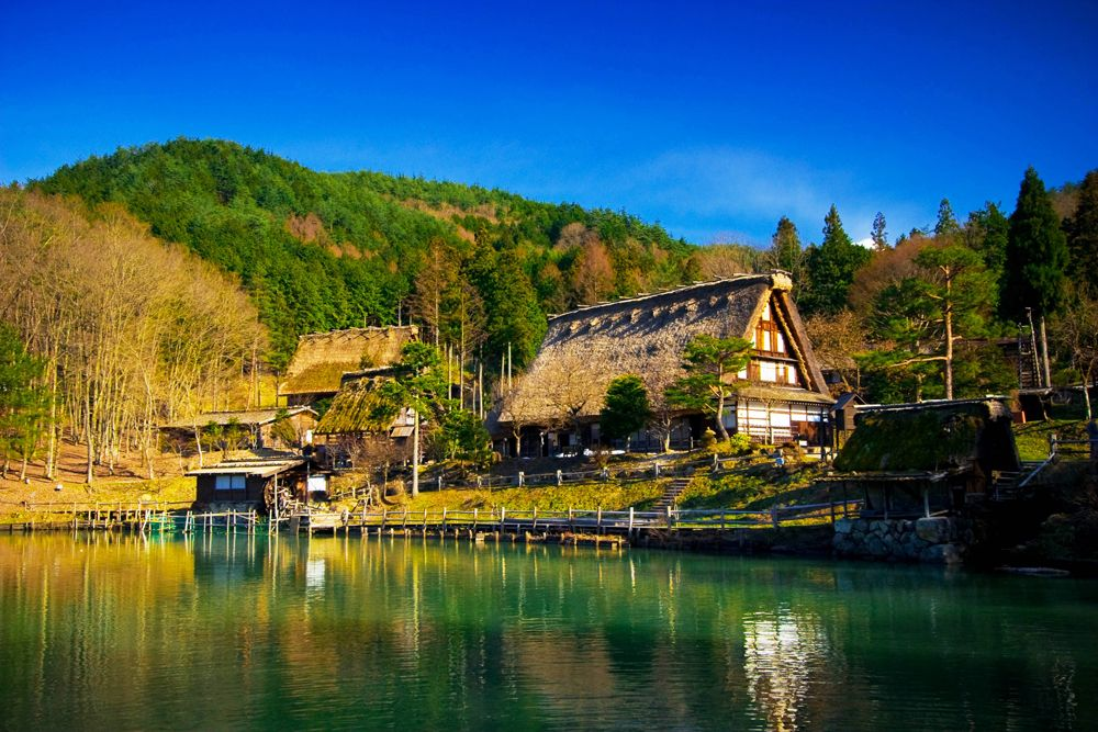 Hida Folk Village in spring, Takayama, Japan