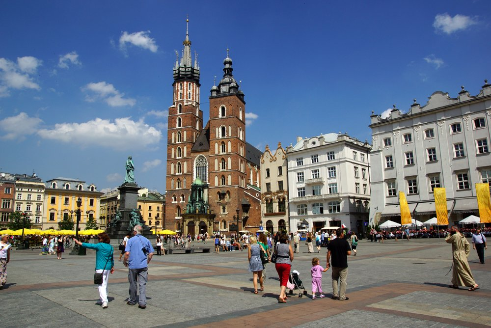 Main Market Square in the Old Town Krakow, Poland