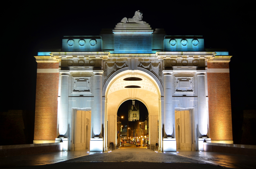 Menin Gate illluminated at night, Ypres, Belgium