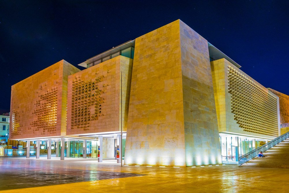 Night view of the Maltese Parliament in Valletta, Malta