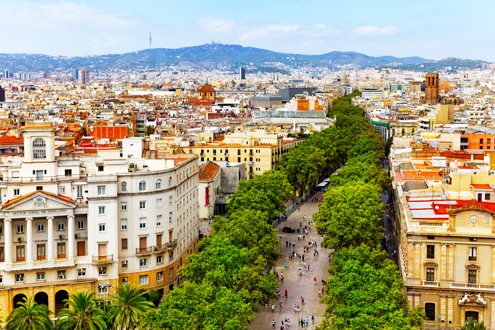 Panorama of Barcelona city from Columbus Monument, Barcelona, Spain