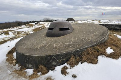 Remains of gun emplacements and fortifications at Fort Douaumont near Verdun, France