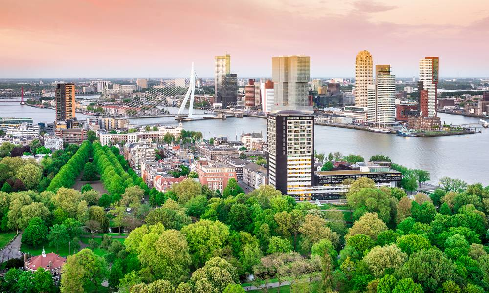 Rotterdam skyline with Erasmus bridge at sunset as seen from the Euromast Tower, Netherlands