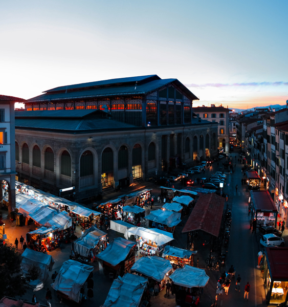 San Lorenzo Market at sunset, Florence, Italy