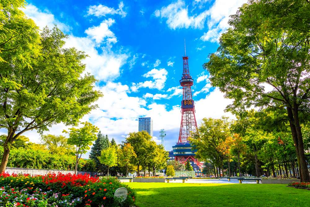Sapporo TV Tower seen from Odori Park, Sapporo, Japan