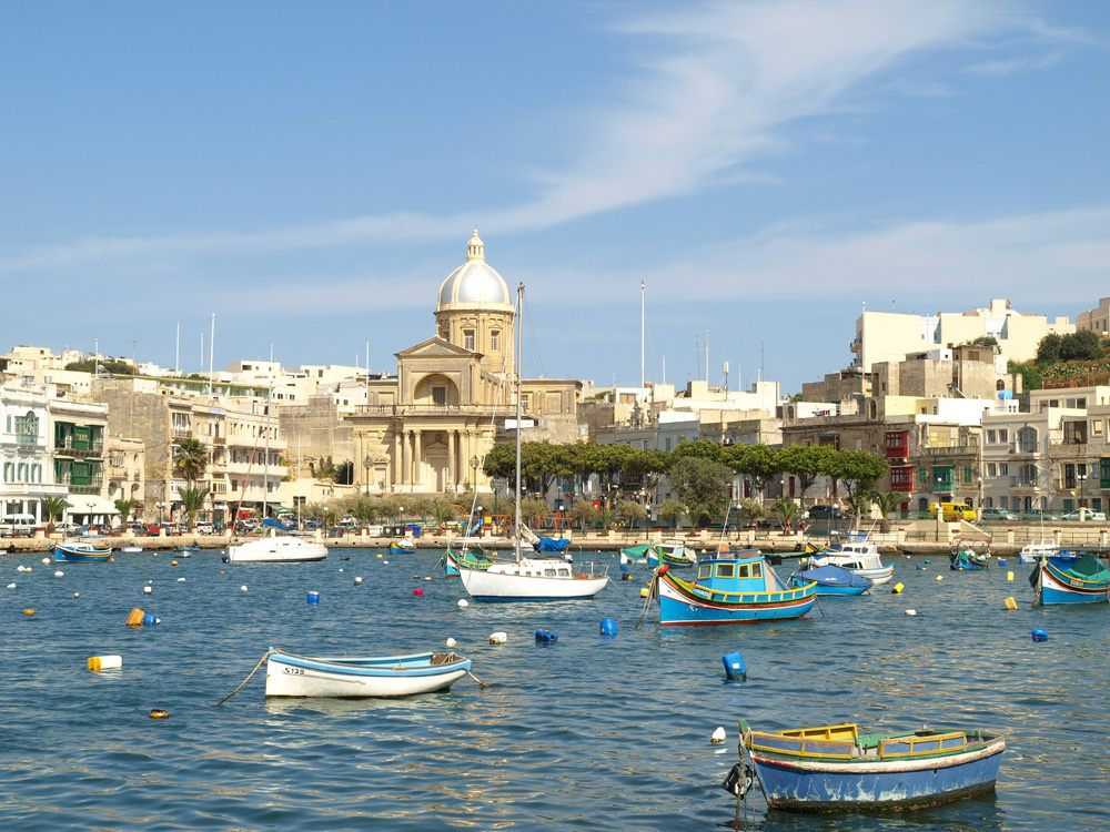 Scenic view of Kalkara Creek marina across the water from Vittoriosa Birgu, The Three Cities, Valletta, Malta