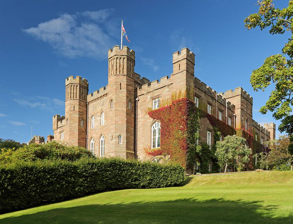 Scone Palace and garden on a sunny day. Perthshire, Scotland