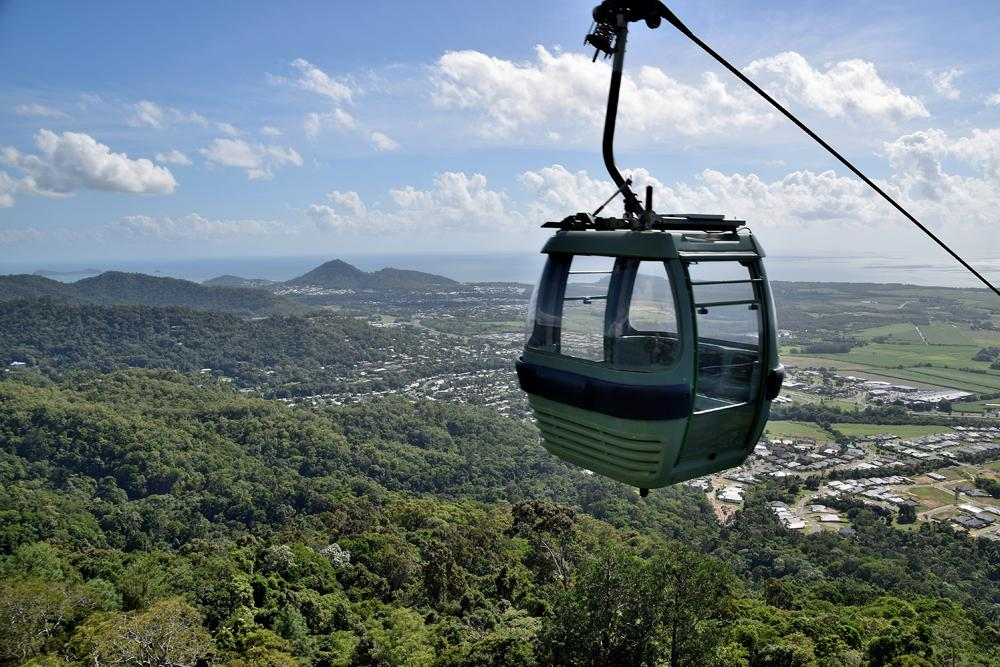 Skyrail Cableway zips through the tropical Kuranda rainforest, Queensland, Australia