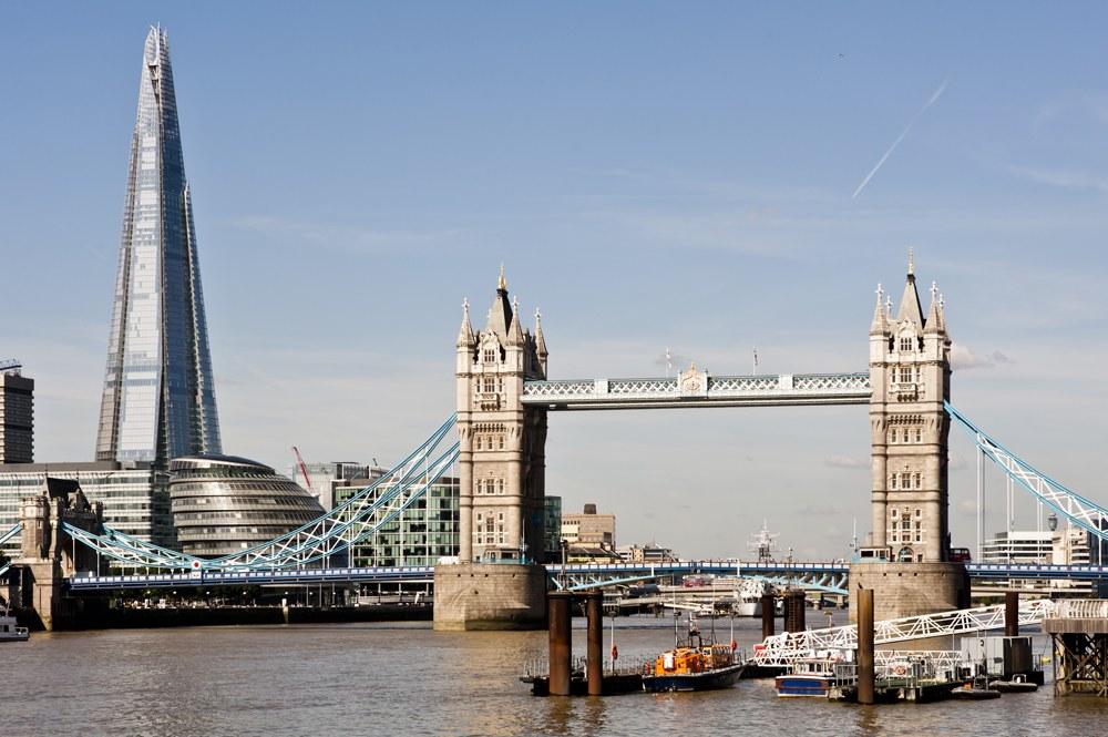 Tower Bridge and the new Shard skyscraper, London, England, UK United Kingdom