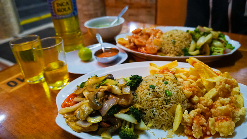 Traditional Chifa food in Lima, Peru