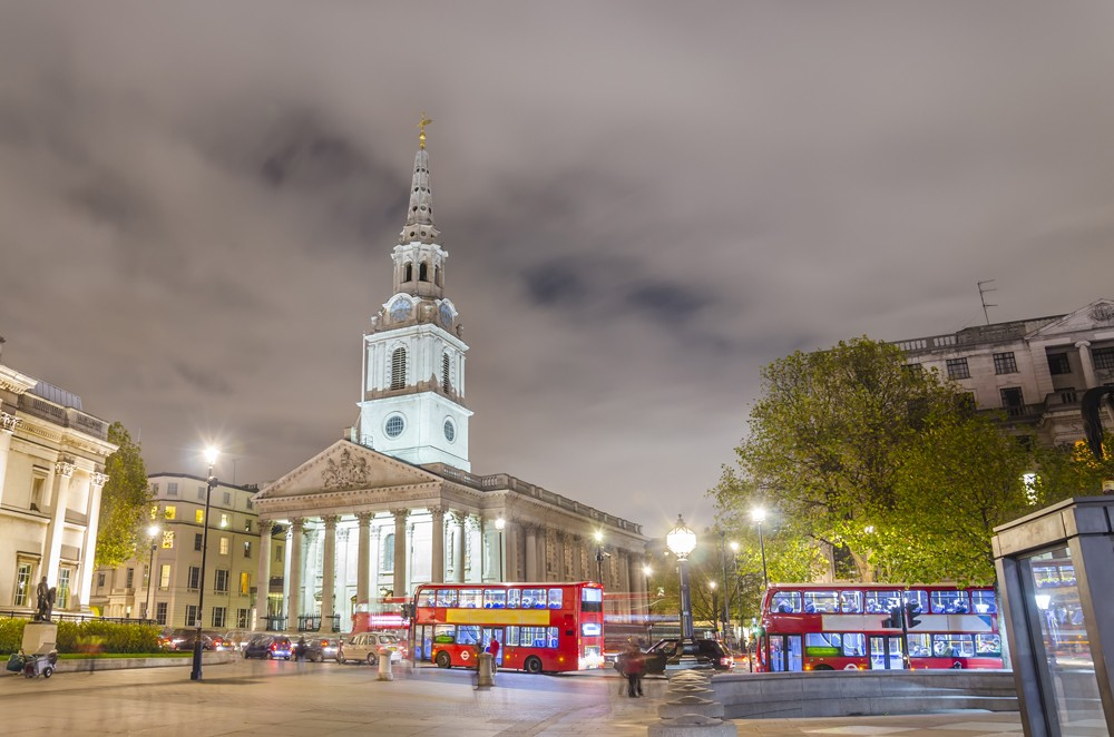 Trafalgar Square with St Martin in the Fields, London, England, UK United Kingdom