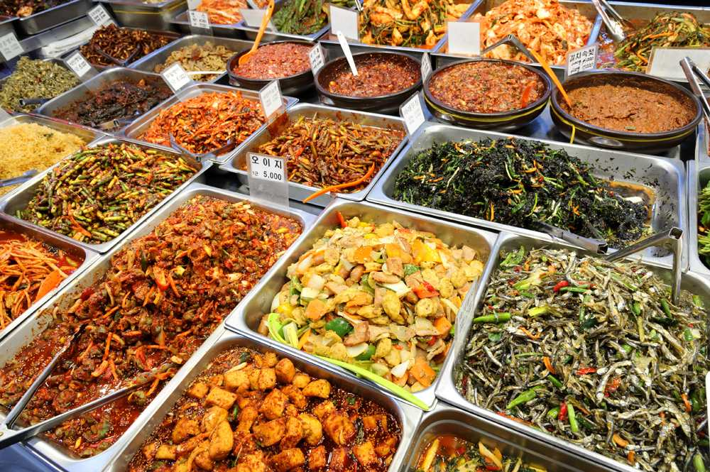 Variety of ready Korean food sold in markets, Seoul, Korea