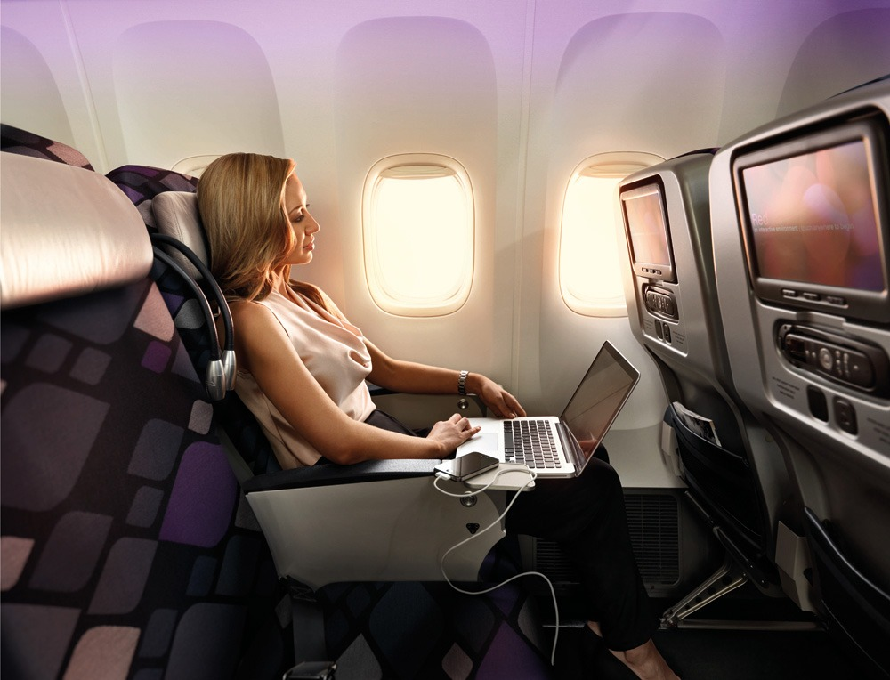 Virgin Australia Premium Economy work station