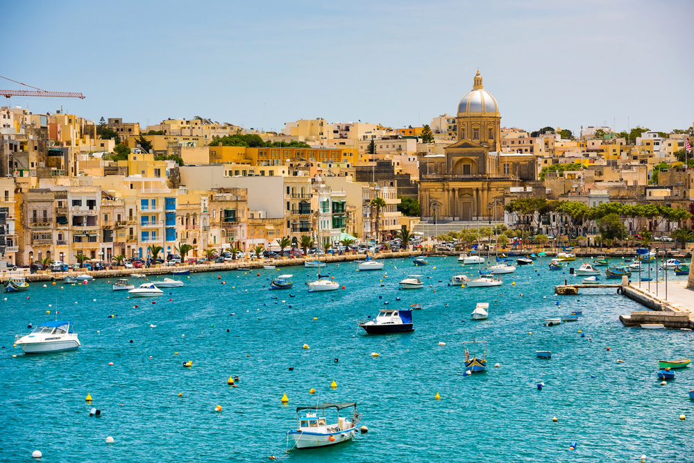 Yachts and boats in the bay near Valletta, Malta
