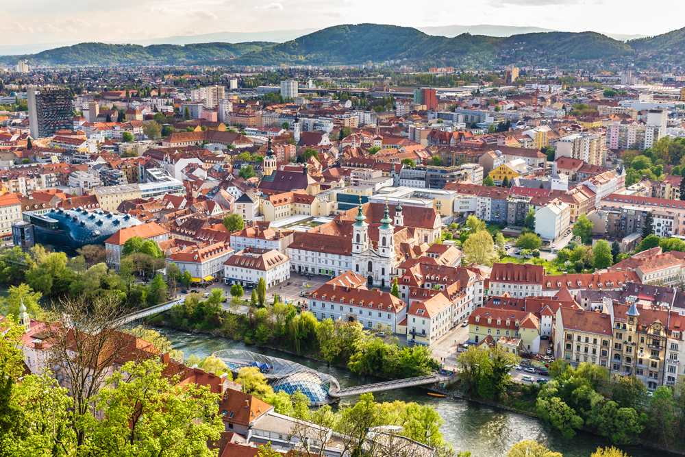 Aerial view of Graz city centre, Graz, Austria