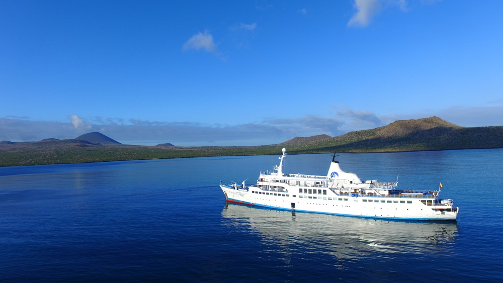 Aerial view of MV Legend in the Galapagos Islands, Ecuador