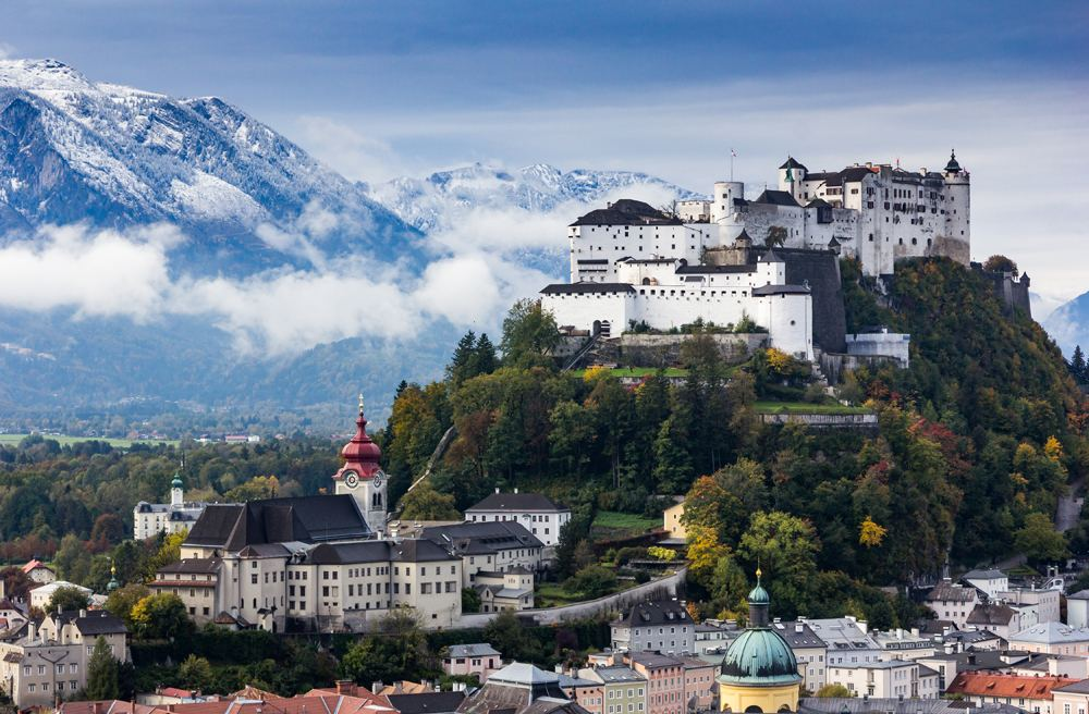 Beautiful view of Salzburg skyline with Festung Hohensalzburg and Salzach River in summer, Salzburg, Austria
