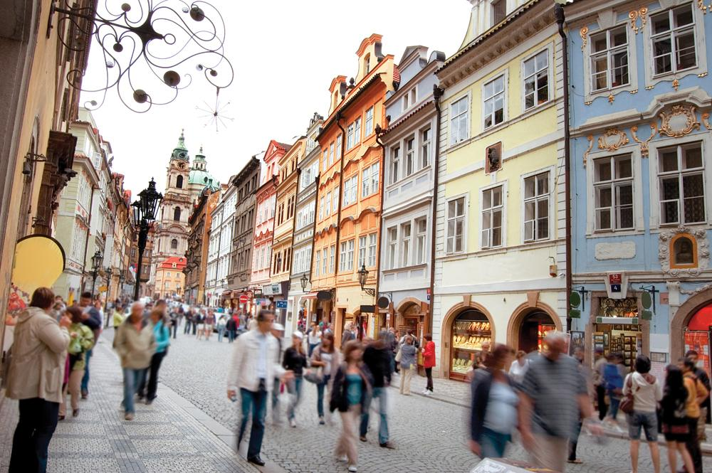 Crowd of people in streets of Prague, Czech Republic
