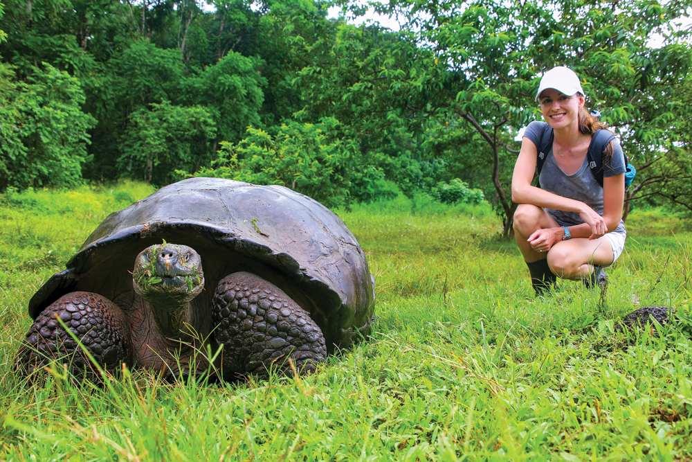 Galapagos giant tortoise beside young woman, Santa Cruz Island, Galapagos Islands, Ecuador