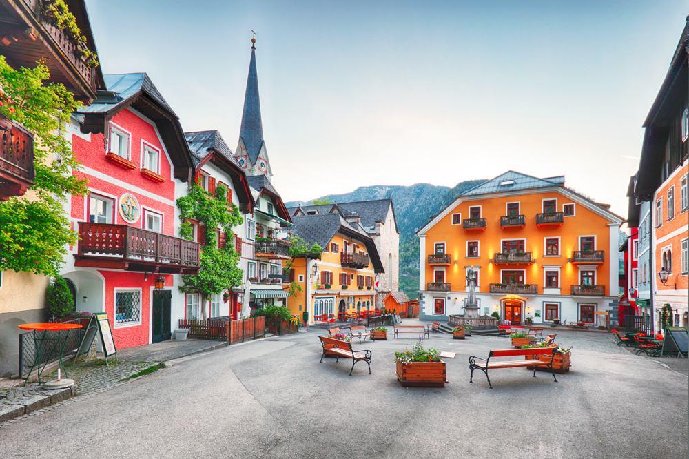Hallstatt Square in Salzburg, Austria