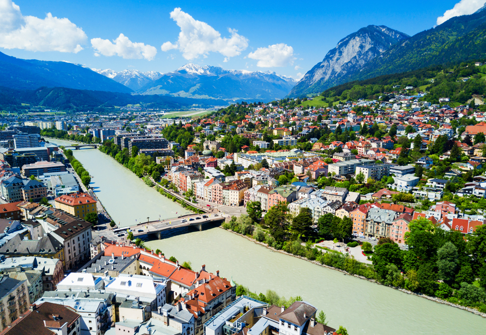 Inns River and Innsbruck city centre, Austria