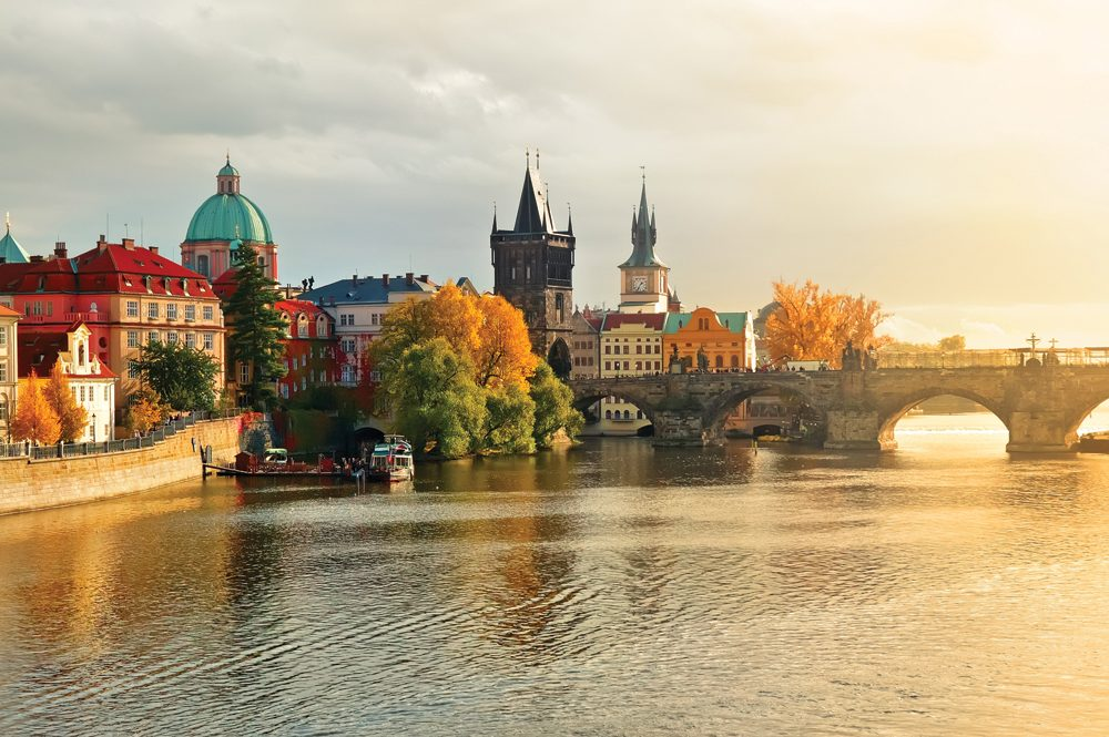 Old Town of Prague with Charles Bridge at sunset, Czech Republic