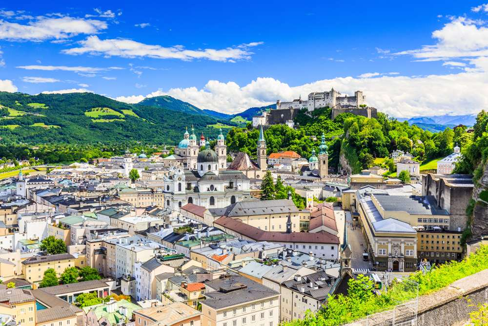 Old town with Festung Hohensalzburg fortress and Salzburger Dom, Salzburg, Austria