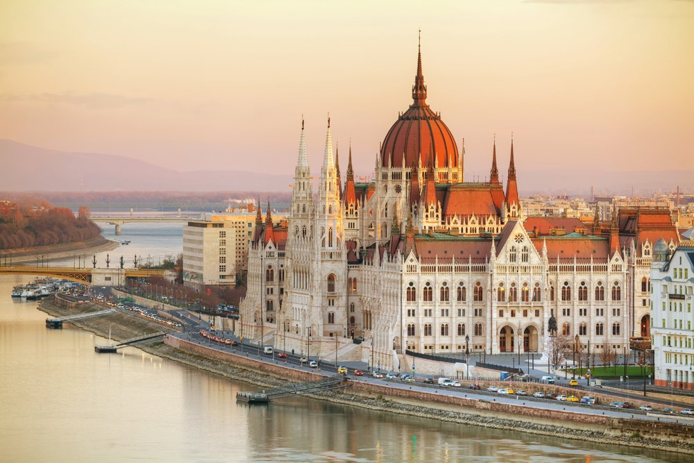 Parliament Building in Budapest at sunrise, Hungary