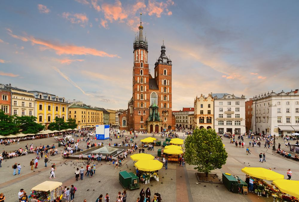 Rynek Glowny main square in Krakow, Poland