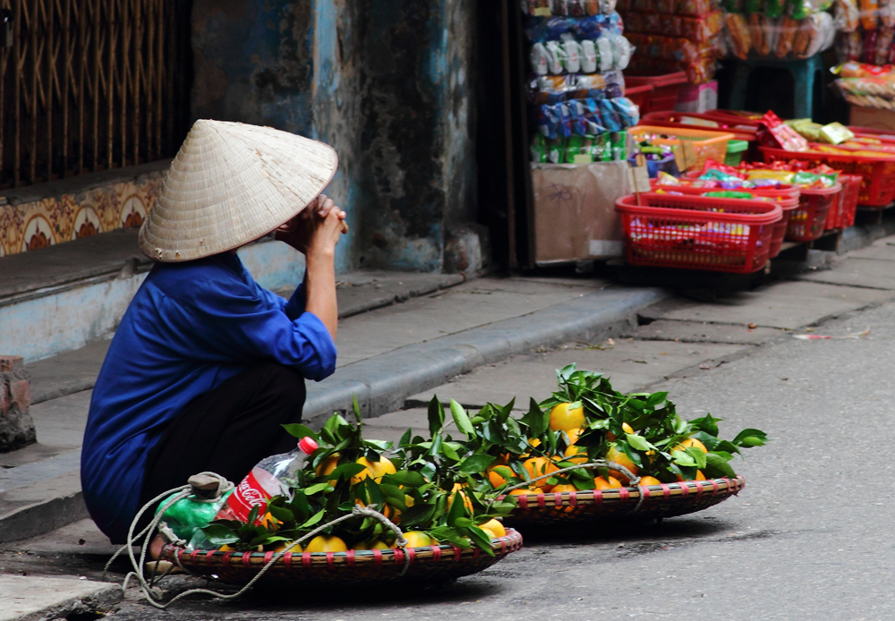 Street vendor in Vietnam selling fruit at a corner in Hanoi, Vietnam cropped