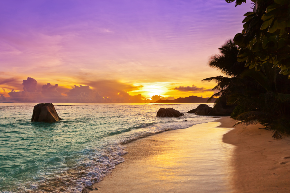 Sunset on Anse Source D'Argent beach in La Digue, Seychelles