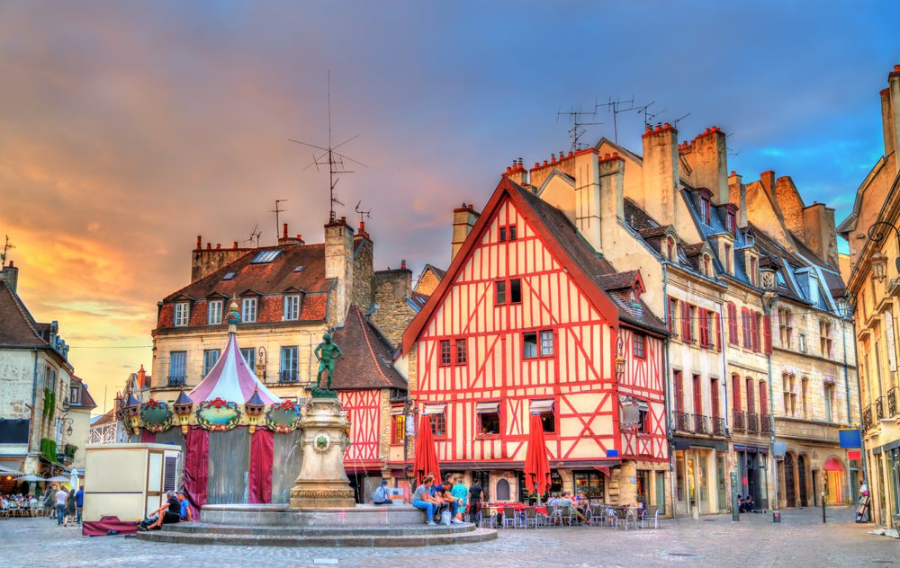 Traditional buildings in the Old Town of Dijon, Burgundy, France