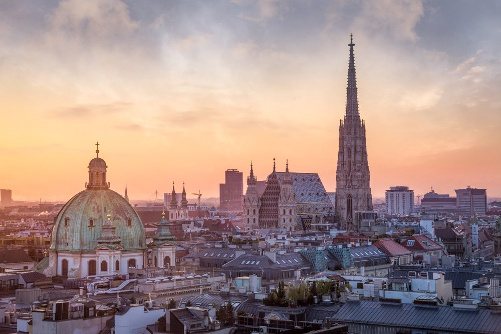 Vienna skyline with St Stephen's Cathedral, Vienna, Austria