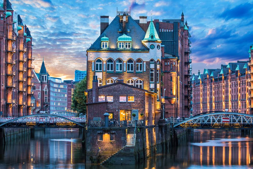 Warehouse District (Speicherstadt) within the HafenCity quarter in Hamburg, Germany