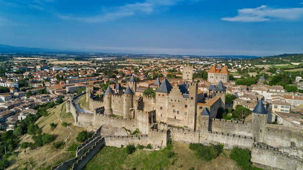 Aerial view of Carcassonne medieval city and fortress castle, France