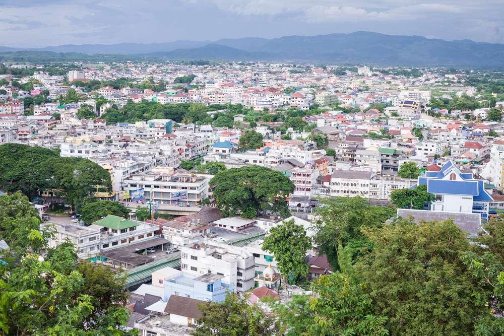 Aerial view of Mae Sai, Chiang Rai Province, Thailand