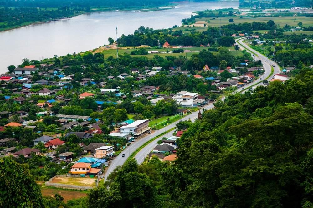 Aerial view of Mekong River at Chiang Saen city, Thailand