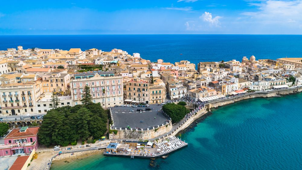 Aerial view of Ortigia, the historical centre of the city of Syracuse, Sicily, Italy