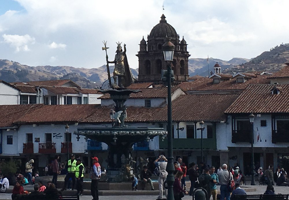 Aren Bergstrom - Statue of Pachacutec in Plaza de Armas, Cusco, Peru - Cropped