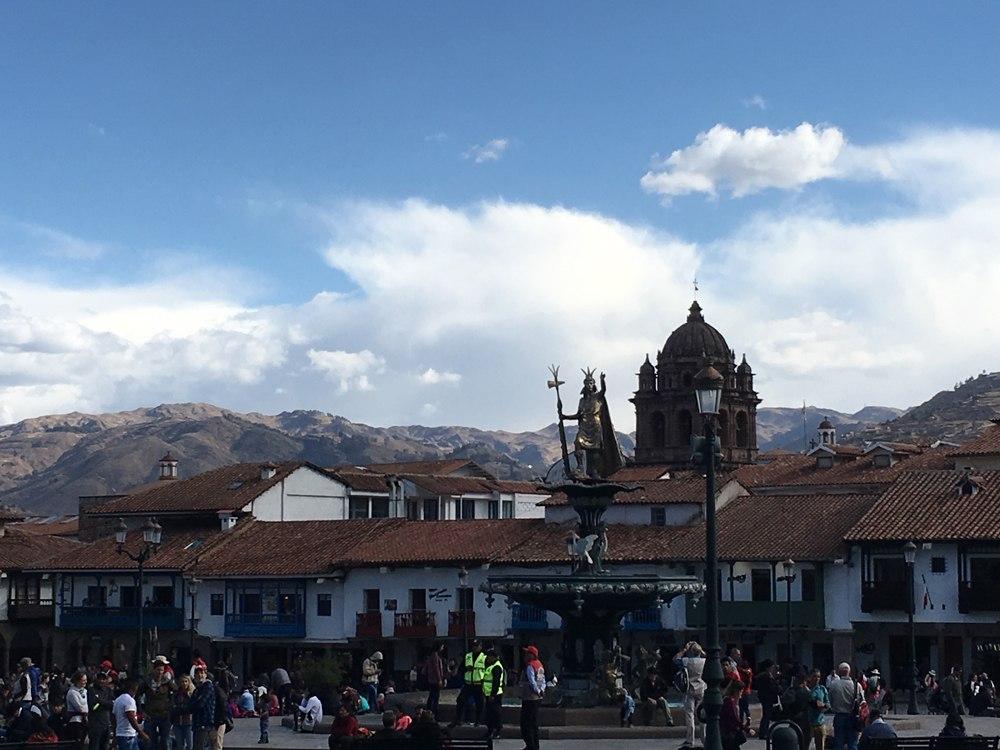 Aren Bergstrom - Statue of Pachacutec in Plaza de Armas, Cusco, Peru