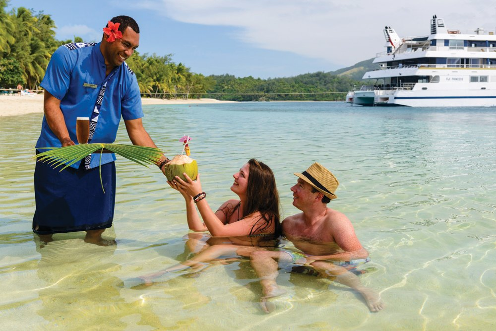 Enjoy friendly service, such as what you'll find on a Blue Lagoon cruise in Fiji