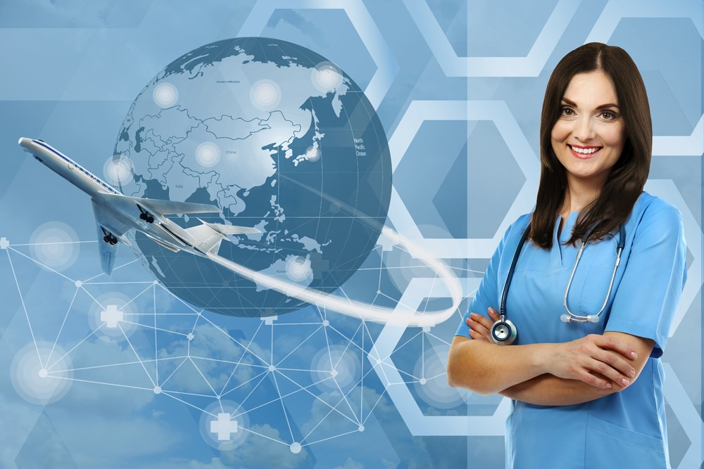 Female doctor with medical tourism concept