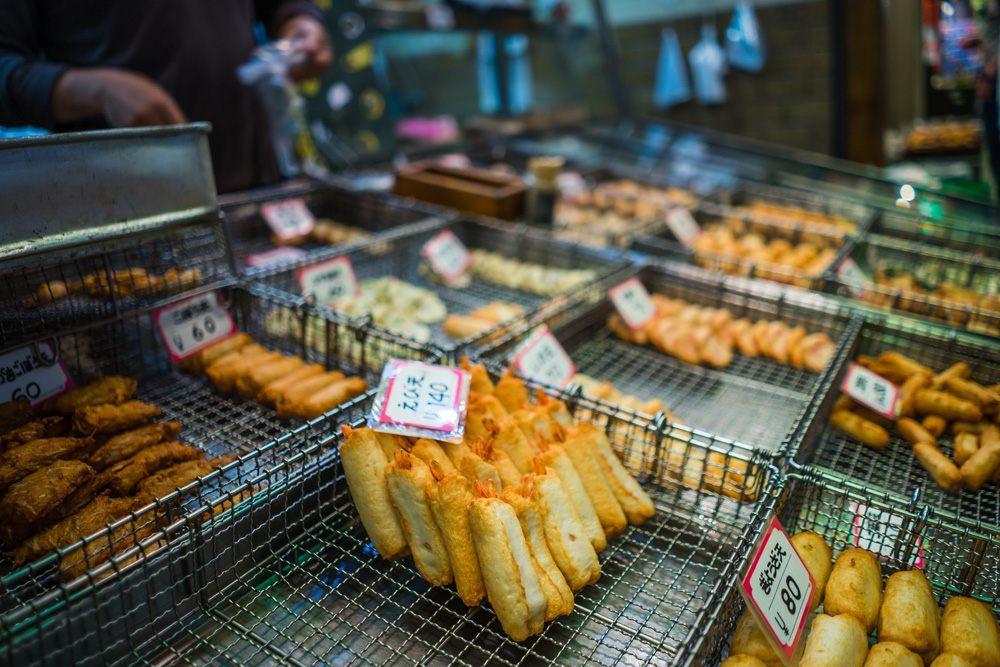 Food snack display in Nishiki Market, Kyoto, Japan