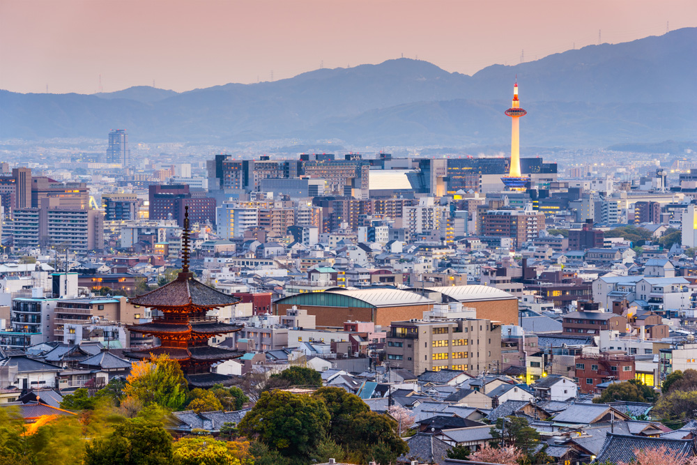 Kyoto skyline at dusk, Japan